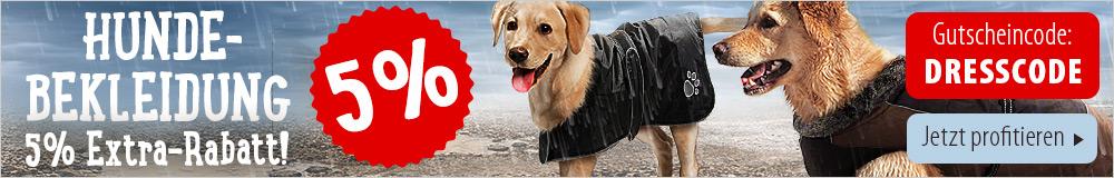 Jetzt für kurze Zeit 5% auf Hundebekleidung sichern!