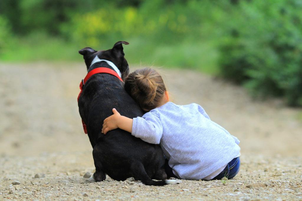 mädchen mit schwarz hund