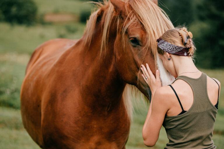 frau küssen pferd