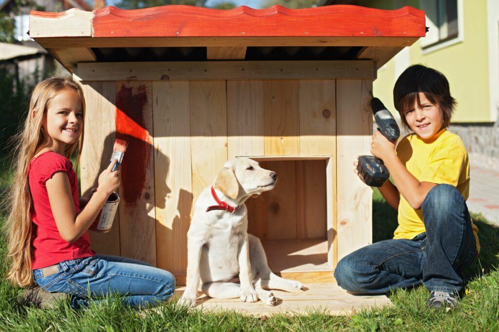 Kinder Hund Hundehütte selber bauen